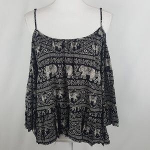 Forever 21 Cold Should Bell Sleeve Elephant Top L